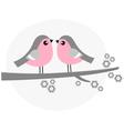 Cute bird couple on blossom branch - retro vector