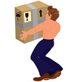 Cartoon topless man holding big box back view vector