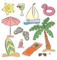 Beach vacation icon set vector