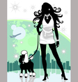 Lady walking poodle vector