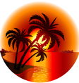 Sunset on a tropical island vector