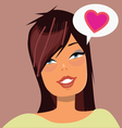 Cute brunette girl face with love message bubble vector