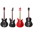 Set of isolated vintage guitars vector