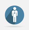 Circle blue icon business man in a tie vector