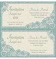 Baroque wedding invitation blue and beige vector