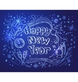 Doodle new year on a blue background vector
