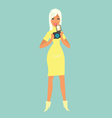 Cute blonde girl with photo camera vector