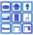 Set of 9 icons of house furniture vector
