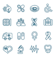 Flat line medical icons set vector