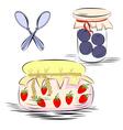 Jars with fruit jam vector