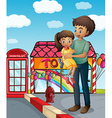 A father and his child near the toy store vector