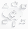 White cloud computing symbols arrows vector