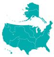 Terrestrial map of usa vector