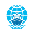 Ship and globe logo sign vector