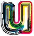 Colorful grunge font letter u vector