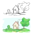 Sketches of village house and tree black and white vector