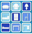 Set of 9 icons of furniture vector