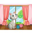A cat near the window vector