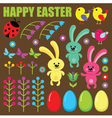 Set of easter eggs animals and flowers vector