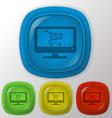 Monitor with symbol shopping cart vector
