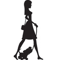 Lady walking puppy silhouette vector
