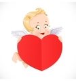 Cute cupid flies with a big valentine heart shaped vector
