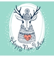 Hand drawn with cute deer happy new year card vector