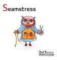 Alphabet professions owl letter s - seamstress vector