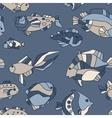 Seamless pattern aquarium fish wave vector