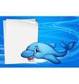 A dolphin beside an empty paper under the sea vector