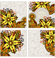 Ornate set of four flower background design vector