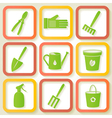 Set of 9 icons of garden instruments vector