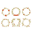 Set of beautiful floral wreaths vector