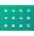 Box icons on green background vector