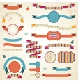 Christmas ribbons labels set vector