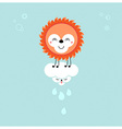 Sun and cloud in the sky cute kawaii animalistic vector
