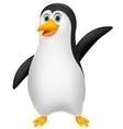 Cute penguin cartoon waving vector