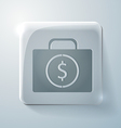 Suitcase with money glass square icon vector