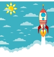 Flying rocket with space for text vector