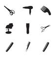 Black barber icons set vector