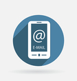 Smartphone with the symbol mail circle blue icon vector