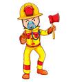 A fireman wearing a yellow uniform vector