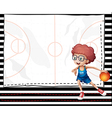 A boy playing basketball vector