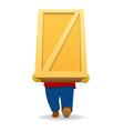 Cartoon man carry big wooden container vector