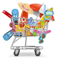 Cart with beach accessories vector
