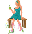 Cartoon young woman sitting on the bench with vector
