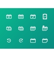 Calendar icons on green background vector
