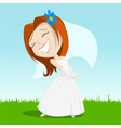 Cartoon happy bride on green grass vector