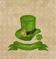 Green hat clover ribbon in saint patrick day vector