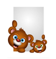 Cute couple brown bear cartoon vector